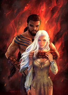 Фото Daenerys Targaryen / Дейнерис Таргариен и Khal Drogo / Кхал Дрого из сериала Game Of Trones / Игра Престолов, by AzumiLee