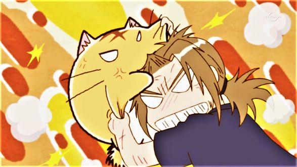 Фото Пуфик дерется с Хидэ Сато, кадр из аниме Хроники Пуфика