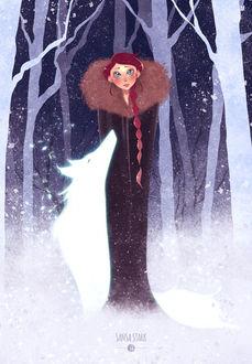 Фото Sansa Stark / Санса Старк и волчица по имени Lady / Леди из сериала Game Of Trones / Игра Престолов, by Joliet