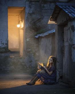 Фото Девочка со щенком сидит на дороге у стены дома, фотограф Elena Shumilova