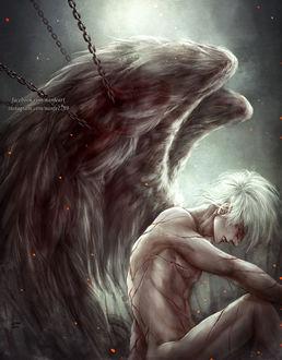 Фото Белокурый ангел, тело которого покрывают шрамы, прикован цепями, by NanFe