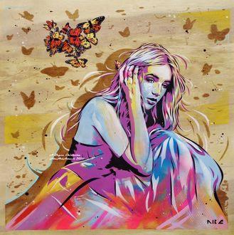 Фото Девушка с бабочками над ней, by abcartattack