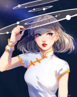 Фото Девушка на фоне космоса, by mieille
