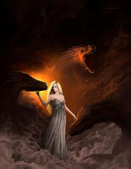 Фото Daenerys Targaryen / Дейенерис Таргариен с тремя драконами из сериала Game of Thrones / Игра престолов