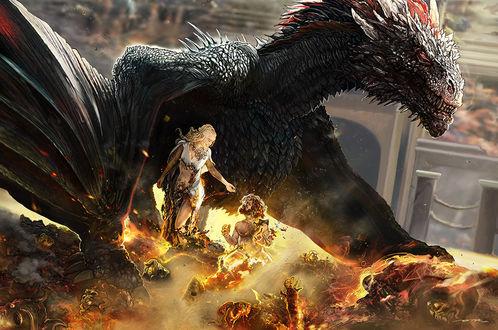 Фото Daenerys Targaryen / Дейенерис Таргариен и Tyrion Lannister / Тирион Ланнистер под крылом дракона, Game of Thrones / Игра престолов