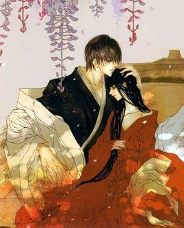 Фото Влюбленная пара сидит под цветущей глицинией из манги Невеста Бога Воды / Bride of the Water God / Suijin no Ikenie, art by Toma Rei