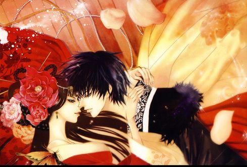 Фото Влюбленная пара собирается поцеловаться из манги Невеста Бога Воды / Bride of the Water God / Suijin no Ikenie, art by Toma Rei