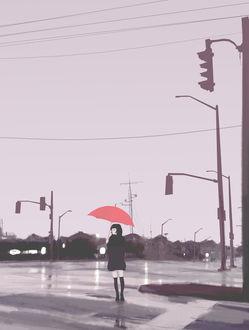 Фото Девушка с красным зонтом, by QuantumGLaDOS