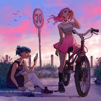 Фото Девушка на велосипеде стоит рядом с девушкой, которая сидит на бордюре и смотрит в телефон, by Ilse Harting