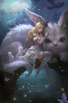 Фото Девушка - эльф сидит, обнимая большого кролика, by GjschoolArt