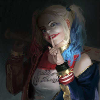 Фото Харли Квинн / Harley Quinn из фильма Отряд самоубийц / Suicide Squad с безумным взглядом, закинув биту на плече, приложила палец к губам, art by J. Won Han
