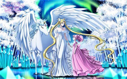 Фото Королева и принцесса Луны рядом с Пегасом в стане грез, арт к аниме Seilor Moon / Сейлор мун