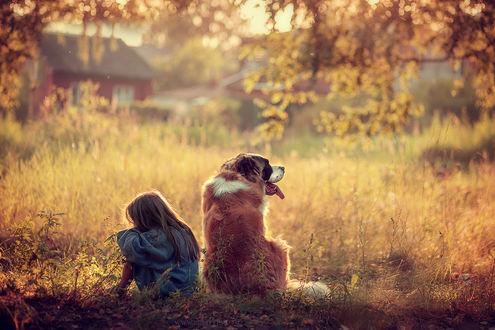 Фото Девочка и пес, отвернувшись друг от друга, сидят на земле. Фотограф Александра Черемохина