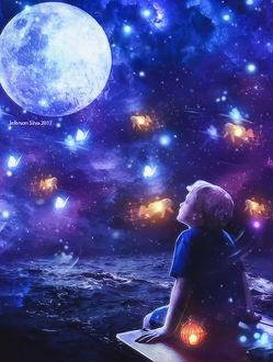 Фото Мальчик сидит у моря и смотрит на полную луну и летающих бабочек, by JefersonArts