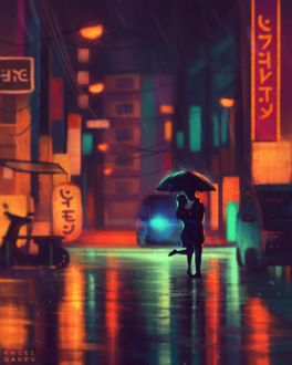 Фото Влюбленные стоят под зонтом на улице ночного города, by AngelGanev