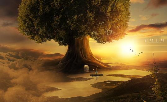 Фото Девочка стоит перед огромным деревом с волшебным входом, со ступеньками, на фоне ярко сияющего солнца, by alanleal22