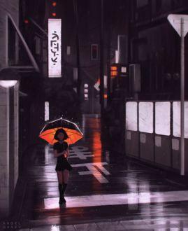 Фото Девушка с зонтом идет по дороге ночного города, by AngelGanev