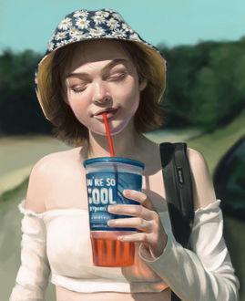 Фото Девушка в шляпке со стаканом напитка в руке, by Dzydar