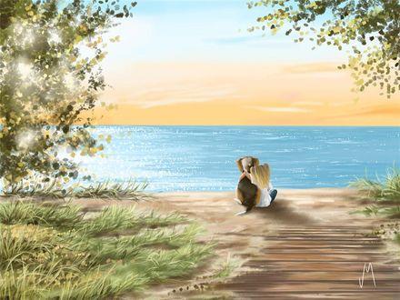 Фото Девочка со своей собакой сидит у моря, by Veronica Minozzi