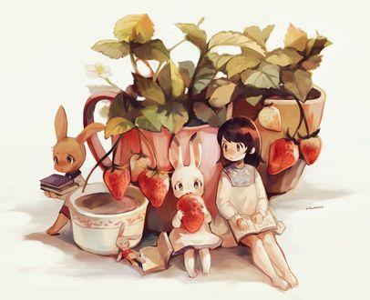 Фото Девочка с книжкой сидит рядом с кроликом, держащим клубнику, у горшка с клубникой, by miu pachi