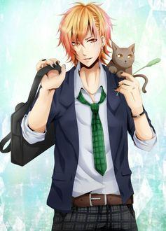 Фото Рыжеволосый парень с черным маникюром и котеночком на плече
