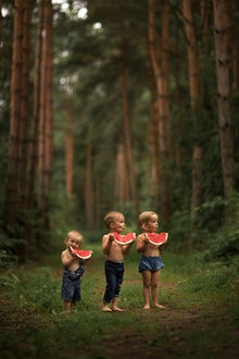 Фото Три малыша в руках с ломтиками арбуза стоят в лесу. Фотограф Ольга Ротова