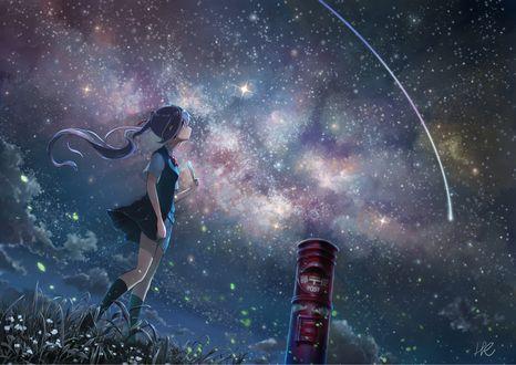 Фото Vocaloid Hatsune Miku / Вокалоид Хатсуне Мику стоит на фоне звездного неба