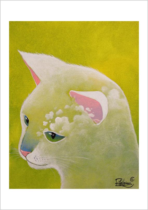 Фото Белая кошка с изображением на ней облаков, by Raphael Vavasseur