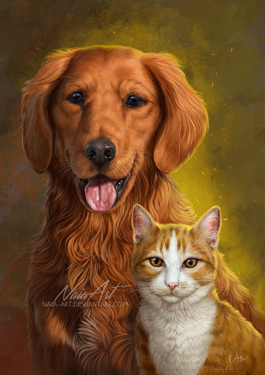 Красивые рисунки собачки и кошечки