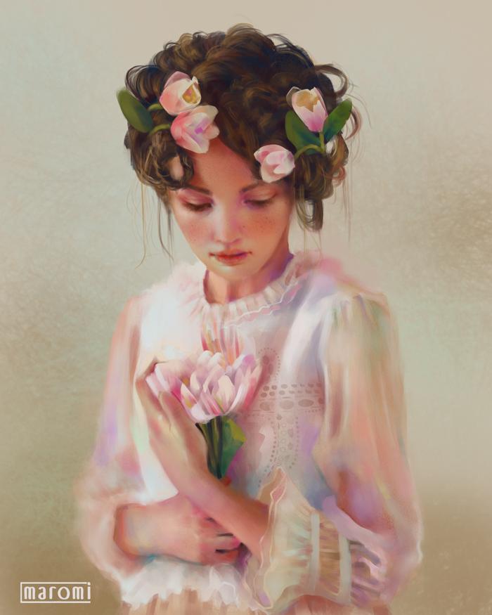Фото Девушка с цветами в волосах прижимает к груди букетик тюльпанов, by MaromiSagi