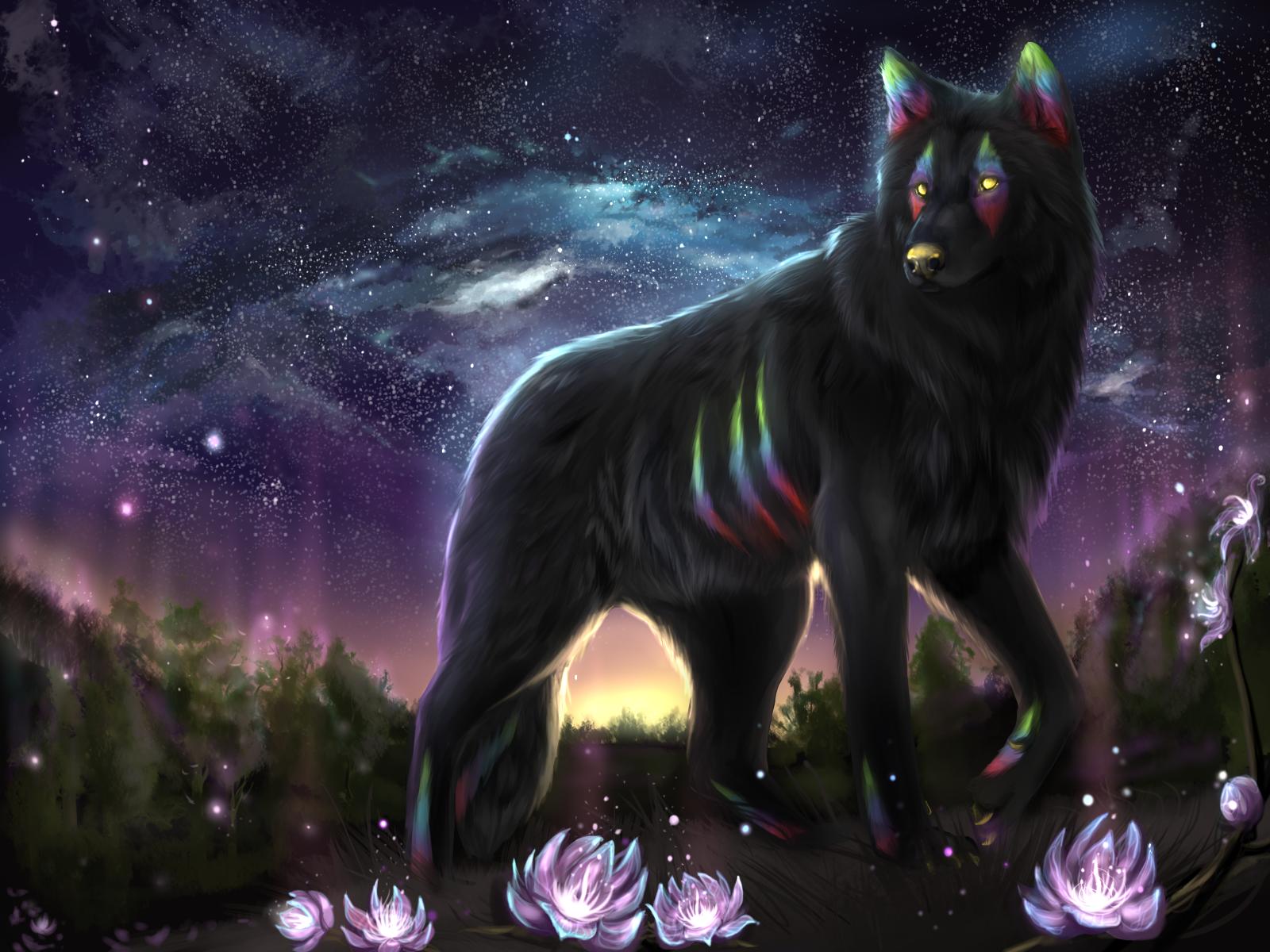 Фото Фантастический волк стоит среди цветов на фоне звездного неба, by Muns11