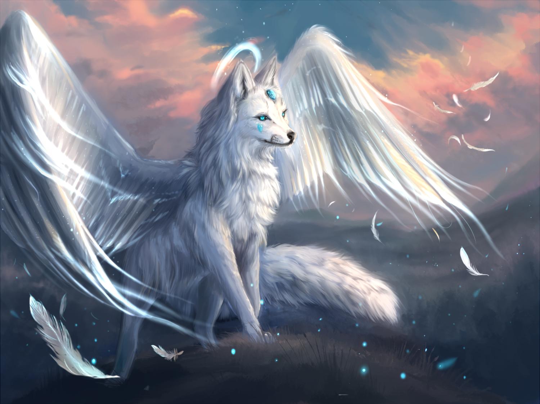 Фото Белая лиса с крыльями стоит на холме, by Muns11