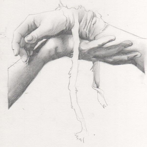 простой рисунок рука в руке карандашом фото они