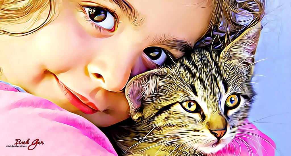 Фото Милая девочка с котенком, by itzikgur