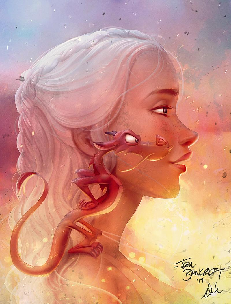 Фото Dayeneris Targaryen / Дайенерис Таргариен (Мать драконов) из сериала Game of Thrones / Игра престолов с драконом Mushu / Мушу на плече из мультфильма Mulan / Мулан, by art Amanda duarte
