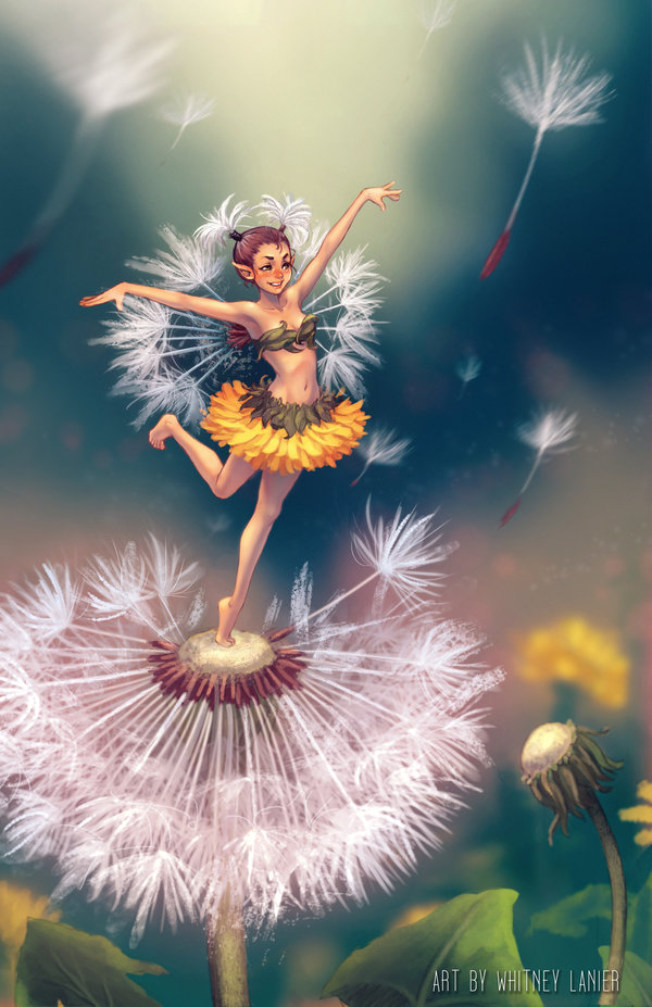 Фото Маленькая фея природы стоит на одуванчике, by DreamerWhit