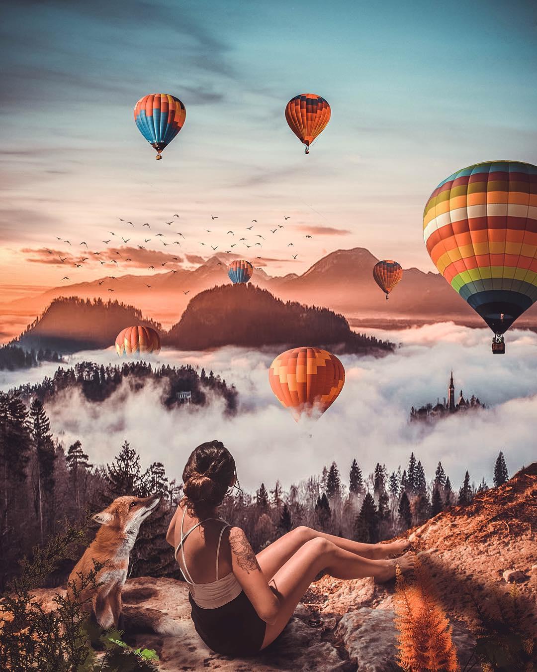Девушка на воздушном шаре картинка
