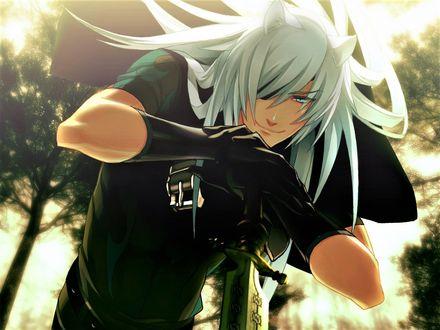 Фото Длинноволосый демон Rai / Рэй стоит, опираясь на катану, из игры Lamento