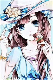 Фото Девушка в шляпке с розами ест мороженое
