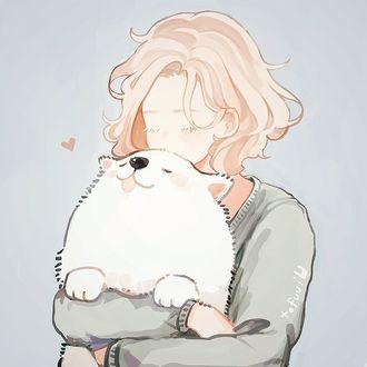 Фото Девушка с белой собакой в руках