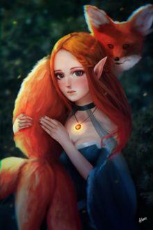 Фото Рыжеволосая эльфийка держит на руках лисицу с тремя хвостами, by Fitaro art