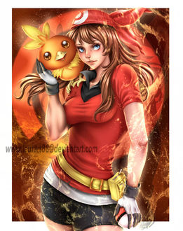 Фото Харука / Мей / Haruka и Торчик / Torchic из аниме Покемон: Современное поколение / Pokemon Advanced Generation, by Laurart88