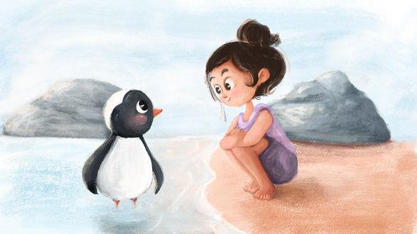 Фото Девочка, сидя на берегу, смотрит на пингвина, который стоит в воде, by elif cansu ozen