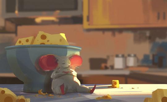 Фото Мышь, объевшись, сидит у чашки с сыром, by Atey Ghailan
