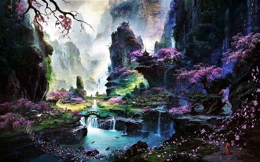 Фото Горное озеро и сады с цветущей сакурой