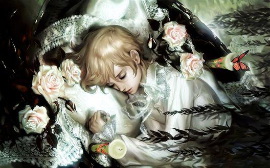 Фото Спящий ребенок в белых розах и кружевах