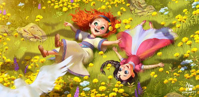 Фото Две девочки резвятся на поляне с цветами, by Grafit Studio