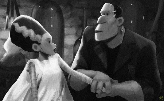 Фото Франкенштейн со своей невестой, арт на кинокартину Невеста Франкенштейна / Bride of Frankenstein, by Gop Gap