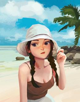 Фото Девушка в шляпке на фоне пляжа, by Yulin Li