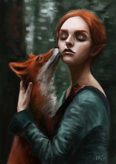 Фото Эльфийка держит лису на руках, by Daria Tusheva